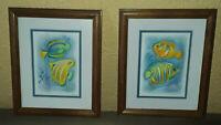 2 Pc Framed Paintings Prints Fish Seascape Ocean Pastel Bathroom Wall Decoration