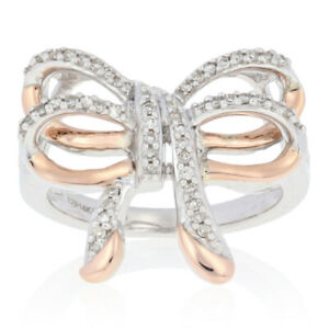 NEW .20ctw Diamond Bow Ring - Sterling Silver & 14k Rose Gold Women's