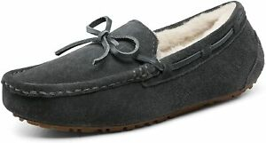 DREAM PAIRS Women's Moccasin Slippers Suede Sheepskin Faux Fur Slip On Shoes