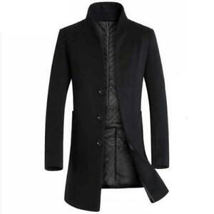 Winter Mens Trench Coat Faux Wool Single Breasted Thick Warm Business Outwear L