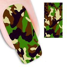 Nail Art de transferencia de agua de calcomanías de la etiqueta Engomada de Decoración camuflaje del Ejército (DX1297)