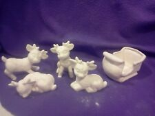 Miniature Softy Sleigh and 4 Reindeer Ceramic Bisque, Ready to Paint
