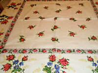 Vintage Tablecloth 50 x 50 Roses and Blue Carnations