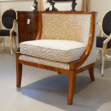 Occasional Fireside Chair with Burl wood and neutral Zebra fabric