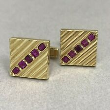 Vintage 14K Gold and Ruby Cufflinks 1960s