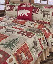 Lodge Collage Comforter Pillow Sham Set Bear Rustic Wood Log Cabin- King