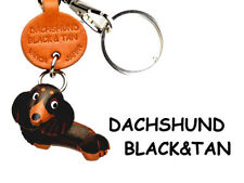 Dachshund Long Black&Tan Handmade 3D Leather Keychain VANCA Made in Japan #56771
