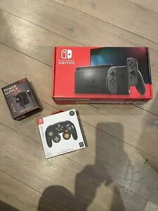 Nintendo Switch Grey Console Improved Battery + Controller + Extra Plug BNIB