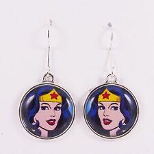 punk justice league cosplay blue stars Wonder Woman Earrings dc comic hero