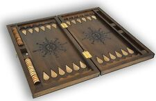 Backgammon Set Windrose Large Carved Wood NEW 22.83 in 100% oak wooden NIB