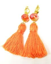 Handmade Boho Orange Crystal Tassel Clip On Earrings,Orange Clip On Earrings