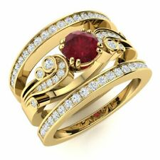 Natural Diamond & AAA Ruby Vintage Wedding Engagement Ring 14k Yellow Gold