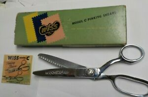 """Vintage WISS Pinking Shears Scissors 9"""" Model C Chrome Plated with Original Box"""