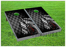 Racing CORNHOLE BEANBAG TOSS GAME w Bags Game Boards Checkered Flag Race Set 697