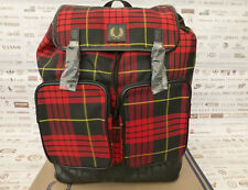 FRED PERRY Backpack L9205 Rucksack TARTAN Pvc Red Large Shoulder Bag BNWT RRP£75