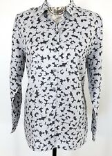 J. Jill Love Linen Petite M Essential Shirt Gray Floral Button Front LS