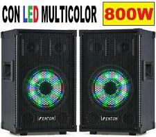 """😍 COPPIA CASSE ACUSTICHE PASSIVE diffusori 800W no amplificate CON LED """"deluxe"""""""