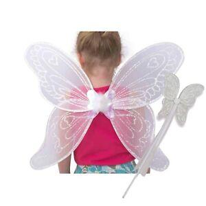 Kids Girls Fairy Wings and Wand Fancy Dress Set White Angel Wings - Lucy Locket
