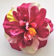"""Deluxe 5"""" Purple Pink Cream Double Hibiscus Silk Flower Hair Clip Pinup Luau"""