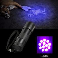 12 LED UV  Violet Taschenlampe Schwarzlicht Licht  Inspektion Fackel 395-400nm