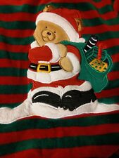 Starting Out 24 mo Christmas Coverall Velour Outfit Red Green Stripes Santa Bear