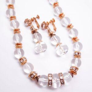 Unusual Vintage Miriam Haskell Clear Bead Rhinestone Necklace Earrings Suite