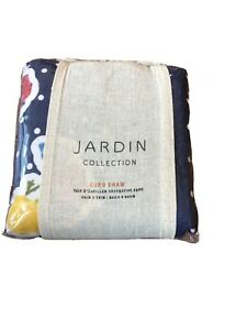 Anthropologie Pillow Sham JARDIN EURO 26x26 Quilted Floral Cotton Dots Blue NEW