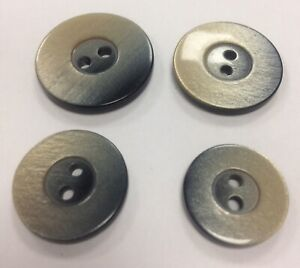 Pearlescent BLUE SILVER BUTTONS multi tonal x 5 18mm - 25mm 2 hole sunken centre