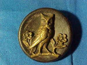 19thc VICTORIAN Era WOOD + Brass BUTTON w OWL Design