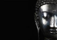 Enmarcado impresión-El Rostro De Una Plata Buda Fondo Negro (imagen de arte cartel)
