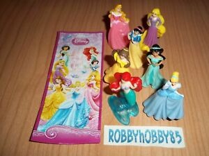 DISNEY PRINCESS COMPLETE SET OF 7 WITH ALL PAPERS KINDER SURPRISE 2013