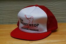 Rare Vtg Djs Short Stop Wilson Kansas Baseball Mesh Trucker Snapback Hat Cap