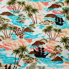 BonEful Fabric Cotton Quilt Sea Ocean Beach Tropical Island Pirate Ship NR SCRAP