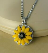 SUNFLOWER metal snap button pendant necklace gifts for women girls jewelry