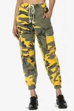 TheMogan Camo High Waist Relaxed Fit Drop Crotch Tapered Leg Slouch Cargo Pants