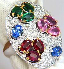 $14000 7.26CT NATURAL SAPPHIRE EMERALD RUBY DIAMONDS SECTIONAL COCKTAIL RING 18K