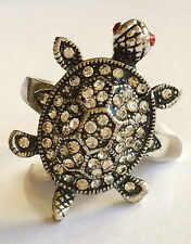 Silver Sea Life Turtle Cocktail Ring Size 10 Crystal Island Nautical Plated