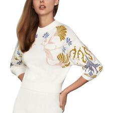 BCBGMAXAZRIA Womens Cropped Crewneck Printed Pullover Sweater Top BHFO 0034