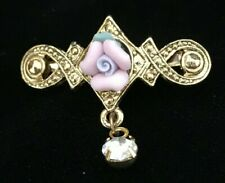 Reproduction Victorian Goldtone Rose Pin Brooch with Rhinestone