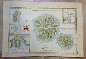 TAHITI POLYNESIA 1780 by RIGOBERT BONNE ANTIQUE ENGRAVED SEA CHART IN COLORS