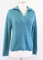 Carlisle Green - Blue Silk Cashmere Blend Cable Knit Pullover Sweater Size M