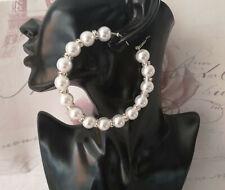 "Beautiful white faux pearl & diamante bead hoop earrings - 8.5cm - 3.4"" - BRIDAL"