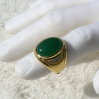 Men's Large Vintage 18 k Solid Gold Green Stone Ring side ROUND CUT AAA CZ GF