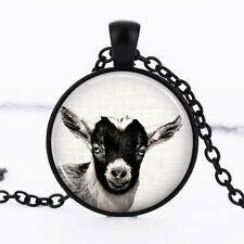 Goat Black Dome Glass Cabochon Necklace chain Pendant #215