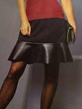 Damen Rock Jersey mit Lederimitat Gr M 40/42 Schwarz Minirock Lederrock Neu