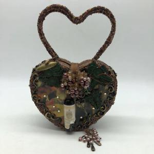 Mary Frances Brown Heart Bag