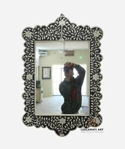 WOOD BONE INLAY HOME DECORATIVE MIRROR FRAME