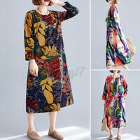 ZANZEA Women Retro Long Sleeve O Neck Casual Loose Kaftan Baggy Shirt Midi Dress
