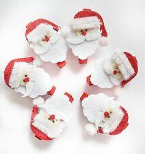 6 Father Christmas Santa Wooden Wood Peg & Felt Embellishment For Making Craft