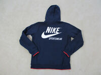 Nike Tech Sweater Adult Medium Blue White Swoosh Big Logo Hoodie Full Zip Mens